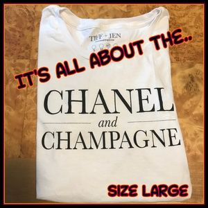 Tiff Jen White Cotton Chanel Champagne Tee Large